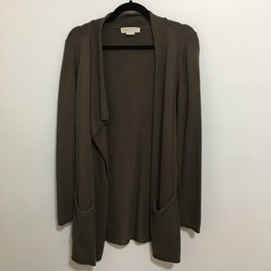 MICHAEL KORS olive green open front cardigan AN12